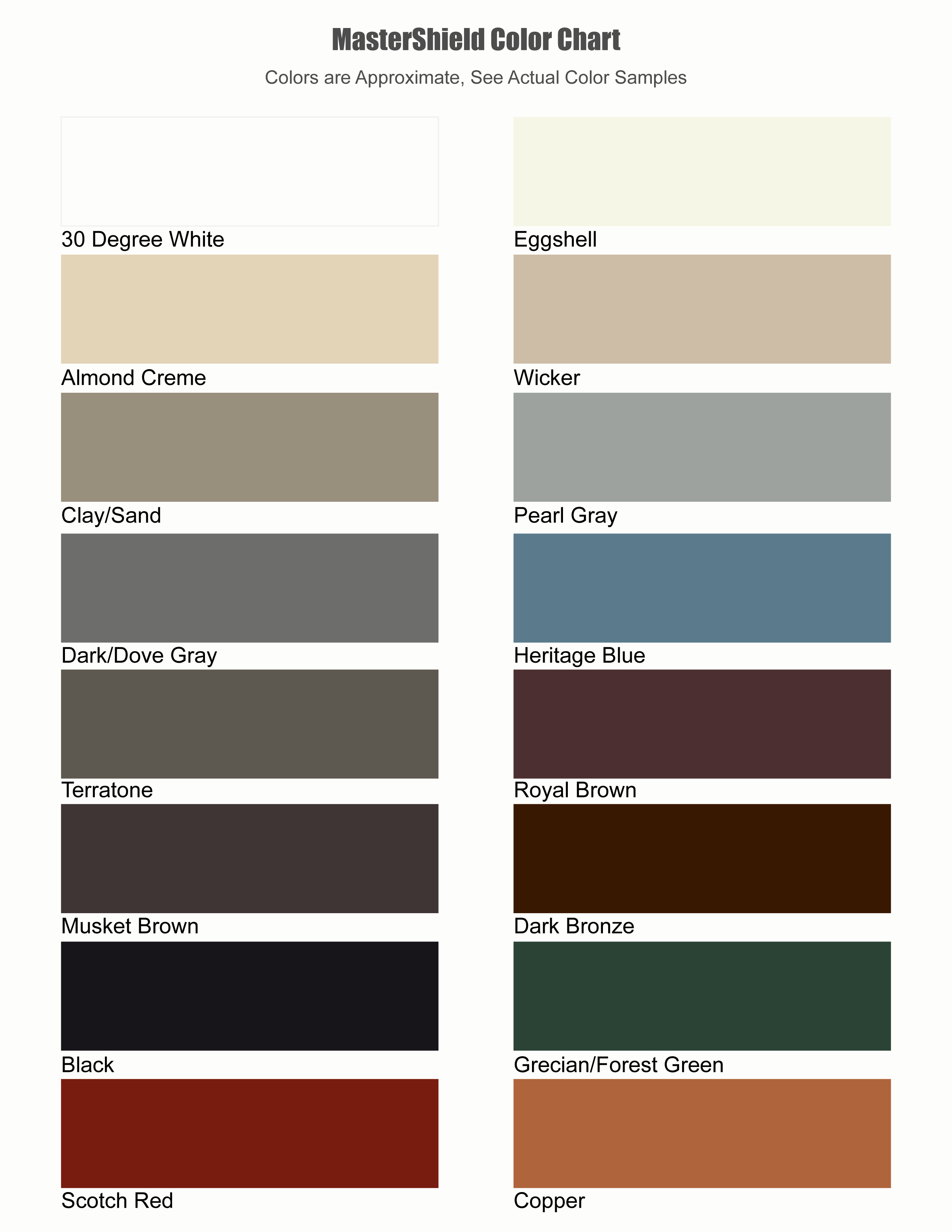 Mastershield Colors Colors For Any Home Copper Available