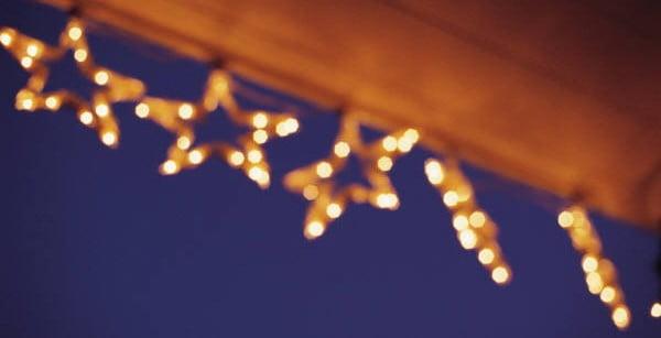 Chrsitmas lights on gutter guard