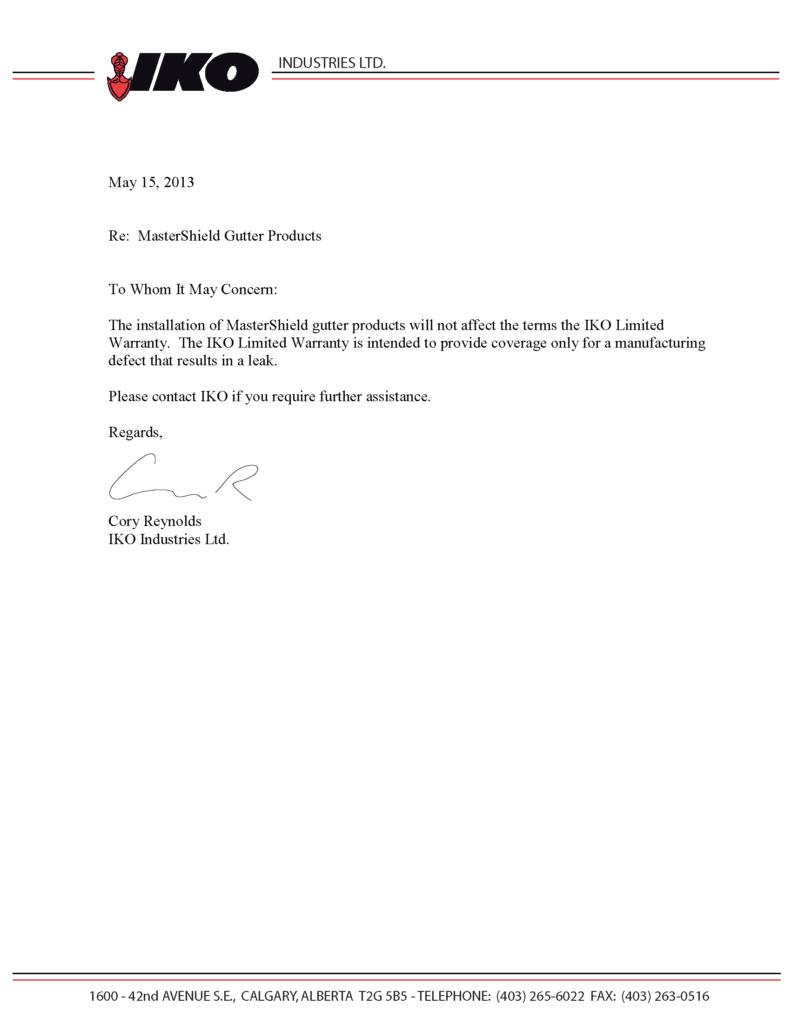 IKO Roof Shingles Letter